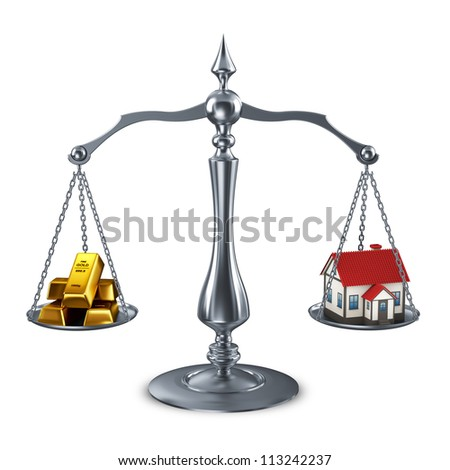 balance scale with house and goldbars