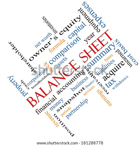 Balance Sheet Word Cloud Concept angled with great terms such as financial, assets, tax and more. - stock photo