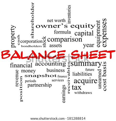 Balance Sheet Word Cloud Concept in red caps with great terms such as financial, assets, tax and more. - stock photo