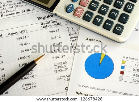 Balance the investment portfolio and check the account statement - stock photo