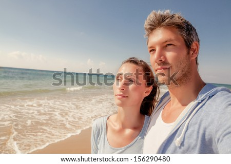 balance vision couple looking for future - stock photo