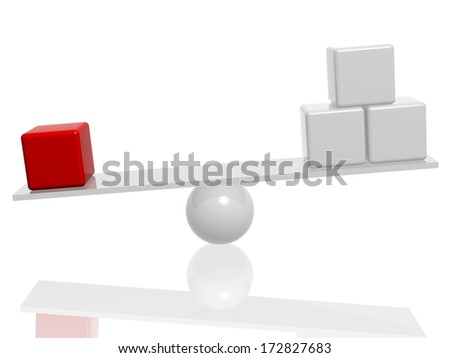 balance with white and red 3d cubes