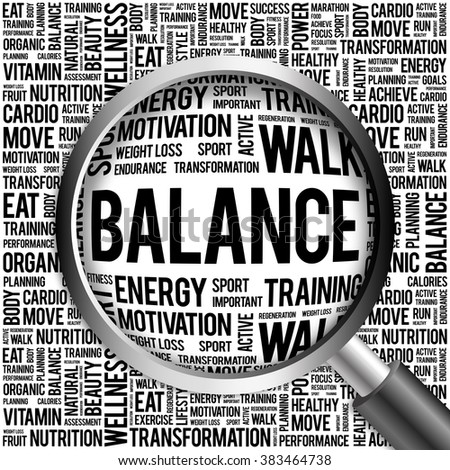 BALANCE word cloud with magnifying glass, health concept