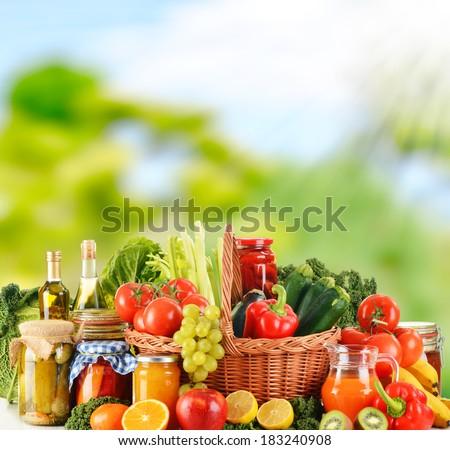 Balanced diet based on raw organic vegetables - stock photo