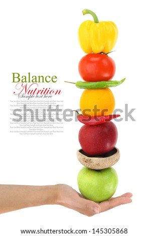 Balanced diet with fruits and vegetables - stock photo