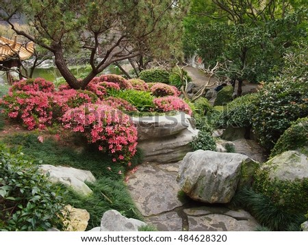 Balanced Harmonious Composed Asian Designed Garden with Decorative Rocks & Springtime Blooms.