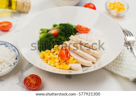 Balanced Meal Or Diet Concept Chicken With Rice And Vegetables