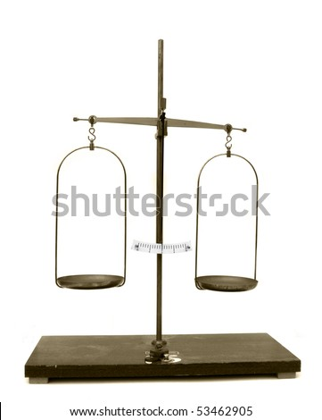 Balanced old scales, isolated on white background - stock photo