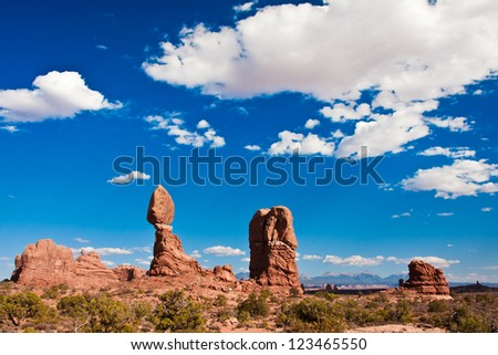 Balanced Rock in Arches National Park, Utah - stock photo