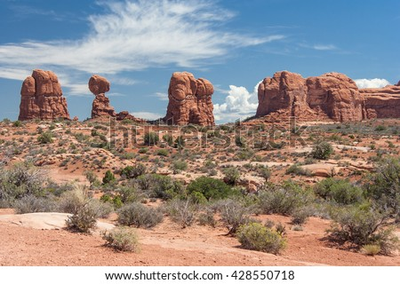 Balanced Rock in Arches National Park, Utah, USA - stock photo
