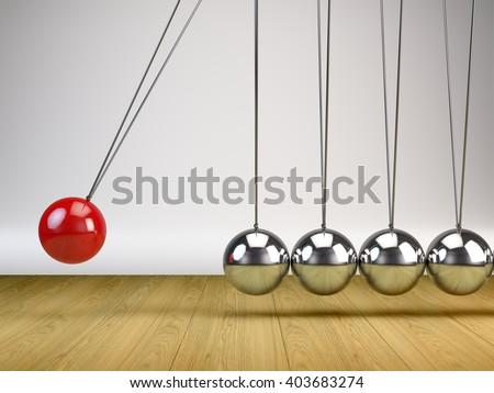 Balancing Balls Newton's Cradle - 3d render - stock photo