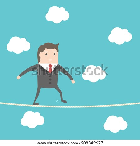 Balancing businessman walking on rope high in sky. Blue background with clouds. Risk, challenge and courage concept. Flat design