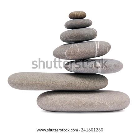 balancing stones islated on white - stock photo