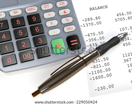Balancing the accounts - calculator and pen on a financial statement page - stock photo