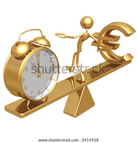 Balancing Time And Euro - stock photo