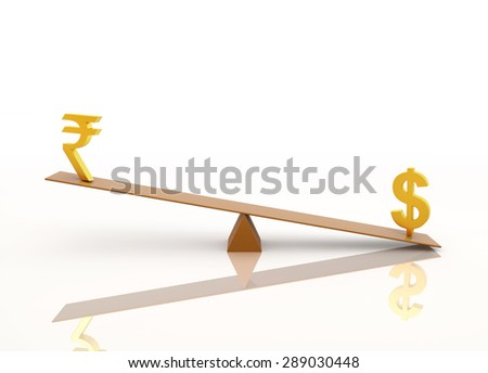 Balancing with Dollar and Rupee - stock photo