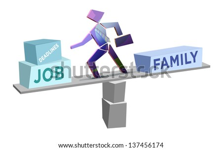 Balancing Work and Family Time. Busy family man creative concept. - stock photo