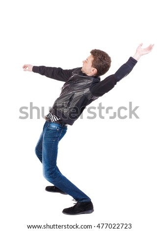 Balancing young man or dodge falling man. Rear view people collection.  backside view of person.  Isolated over white background. Man blows the wind. The guy in the leather jacket falls on his back