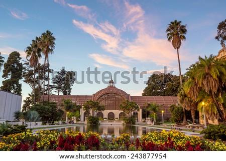 Balboa park Botanical building and pond San Diego, California USA - stock photo