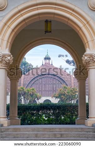 Balboa Park Botanical Building View Through Archway, San Diego California - stock photo