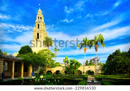 Balboa Park Garden and Bell Tower, San Diego California, USA - stock photo