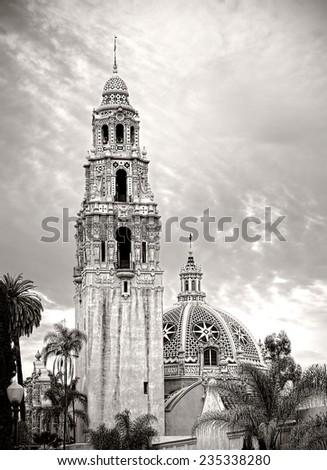 Balboa Park San Diego California, Black and White Photo - stock photo