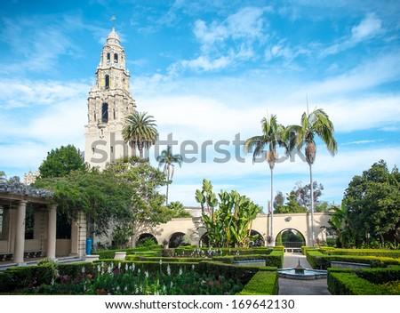 Balboa Park San Diego, California USA, Bell Tower and Garden - stock photo