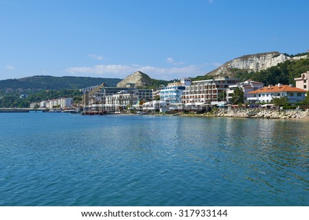 BALCHIK, BULGARIA,16.08.2015: Summer cityscape of Balchik resort town, Coast of Black Sea, Varna region, Bulgaria