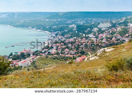 Balchik resort town cityscape, coast of Black Sea, Bulgaria - stock photo