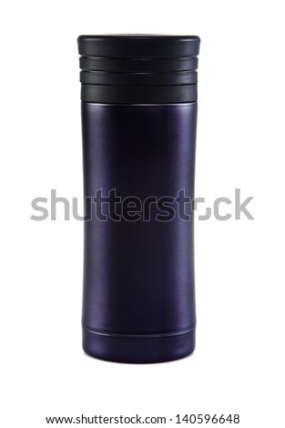 Balck thermos travel tumbler, cup. Closeup. on the white background - stock photo