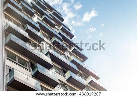 Modern Apartment Buildings Closeup Fotografie Snimky Pro Cleny