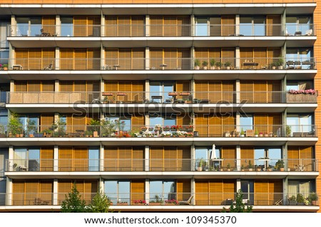 Balconies of a modern building - stock photo