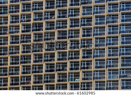 Balconies of a modern hotel - stock photo