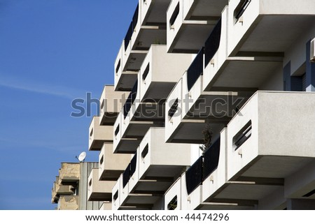Balconies of modern residential building in Marsala, Sicily