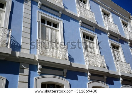 balconies on a building in Old San Juan, Puerto Rico - stock photo