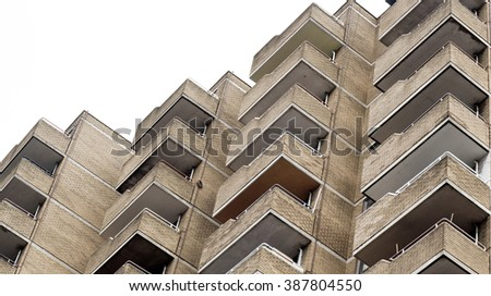 Balconies on a dated apartment building in London, UK - stock photo