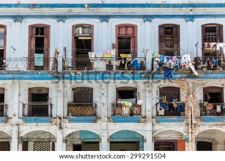 Balconies with laundry in the center of the old city of Havana, Cuba - stock photo