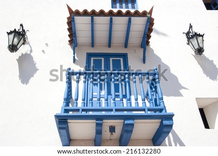 Balcony in Cartagena.Cartagena - the colonial city in Colombia is a beautifully set city, packed with historical monuments and architectural treasures. - stock photo