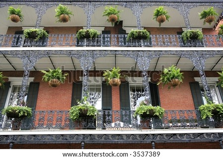 Balcony in the French Quarter in New Orleans - stock photo