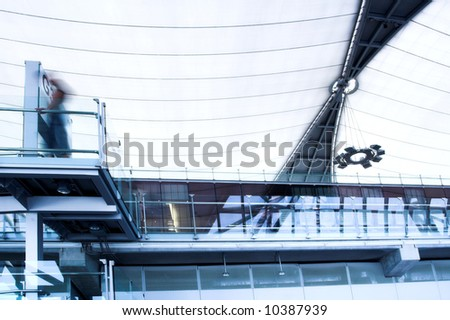 balcony in waiting room, place in airport - stock photo