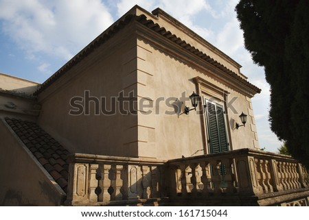 Balcony of a building, Taormina, Province of Messina, Sicily, Italy - stock photo