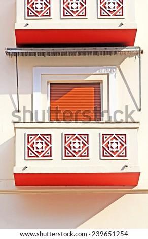 Balcony of apartment houses in Thessaloniki city, Greece - stock photo