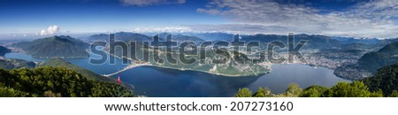 Balcony of Italy - Panorama of Lake Lugano, Lombardia, Italy - stock photo