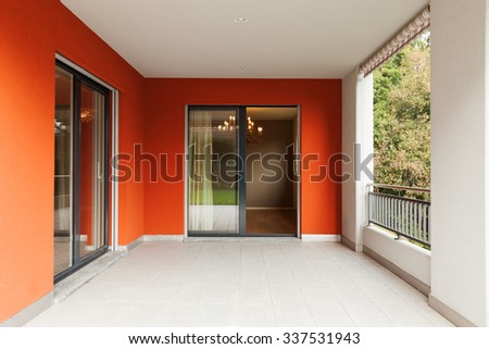 Balcony of modern apartment with empty forest view