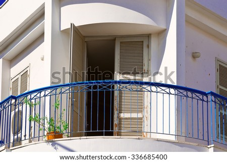 Balcony of Old Building after Reconstruction in Tel Aviv - stock photo
