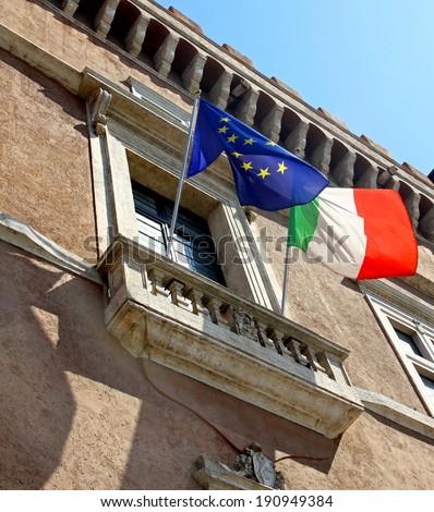 balcony of piazza venezia in Rome where it overlooks the Duce Benito Mussolini to speak to the nation - stock photo
