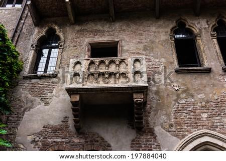 Balcony of Romeo and Juliet in Verona, Italy. Romeo and Juliet balcony in Verona - stock photo