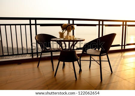 balcony of the house - stock photo