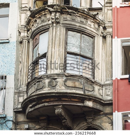 Balcony of the Typical House of Istanbul, Turkey - stock photo