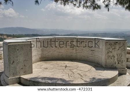 balcony overlooking Perugia - stock photo